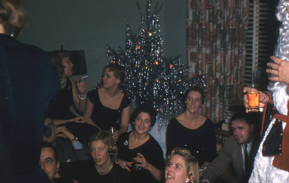 1950's Kodachrome slide of Christmas party with Santa
