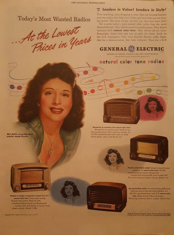 Bea Wain in General Electric ad 1940s