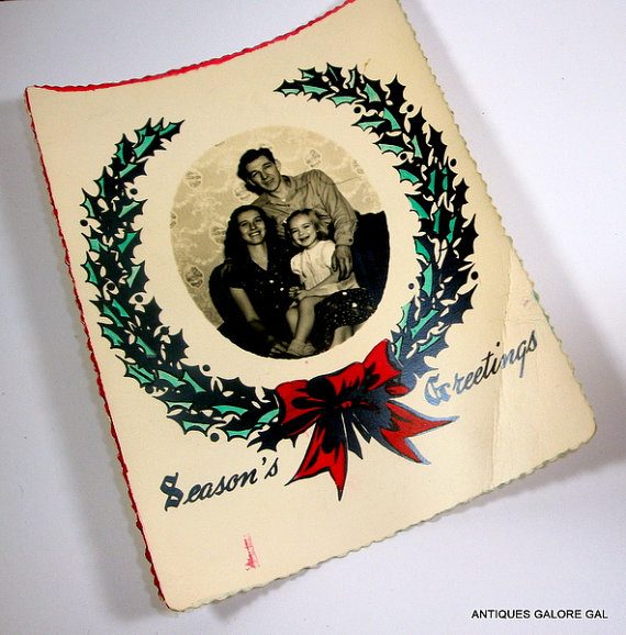 Vintage Photo Christmas Card, Postcard Season's Greetings, Mid Century Holiday Greeting Card, Wreath with Red Bow, 1949
