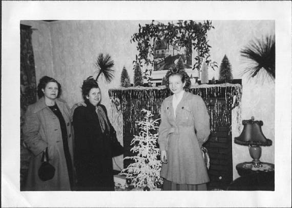 Vintage Snapshot Photo of Women Standing By Small Christmas Tree 1940's
