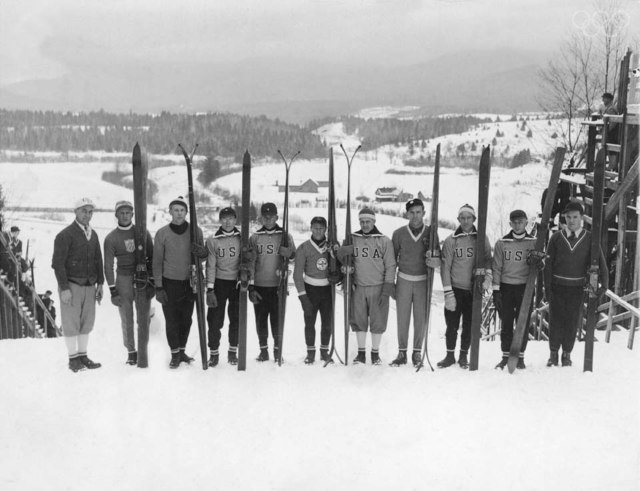 Group portrait of the American men's Olympic ski team seen on the opening day of the Winter Olympics in Lake Placid, New York, February 4, 1932.
