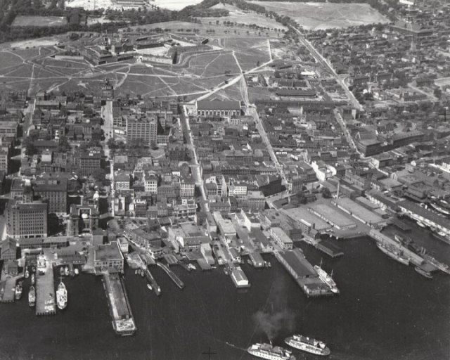 Halifax Canada before ww2 vintage aerial view From Prince Street to Cogswell and Cunard Streets