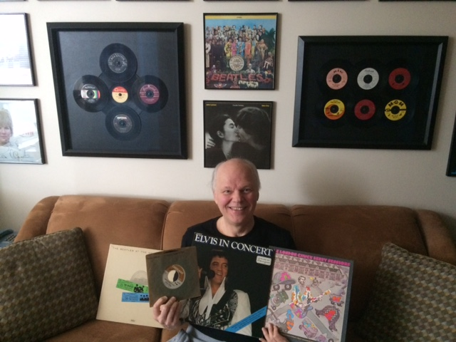 Gene Stevens of zoomer radios Vintage Favourites with vintage record collection
