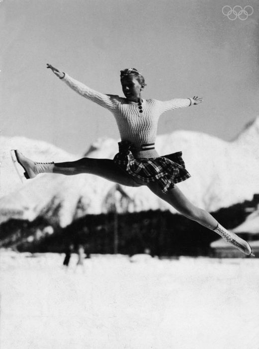 Maxi Herber Practices Her Jumps 1936 Winter Olympics Skating