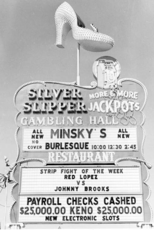 Photograph of neon sign for the Silver Slipper Gambling Hall (Las Vegas), after 1958