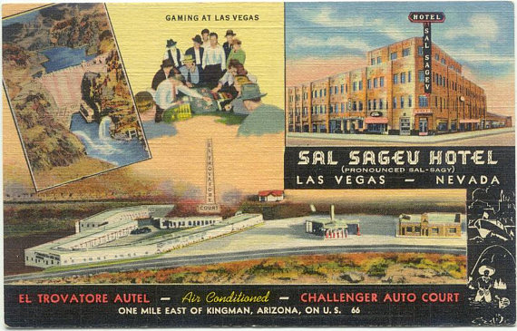 Sal Sagev now Golden Gate Hotel Fremont St Downtown LAS VEGAS NV Vintage Linen Postcard