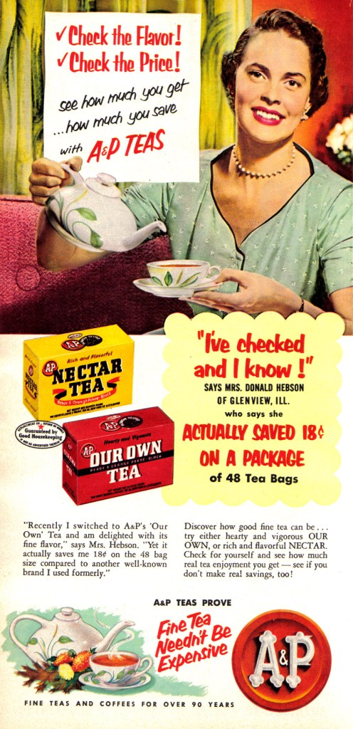 A&P Vintage Tea Advertising 1950s