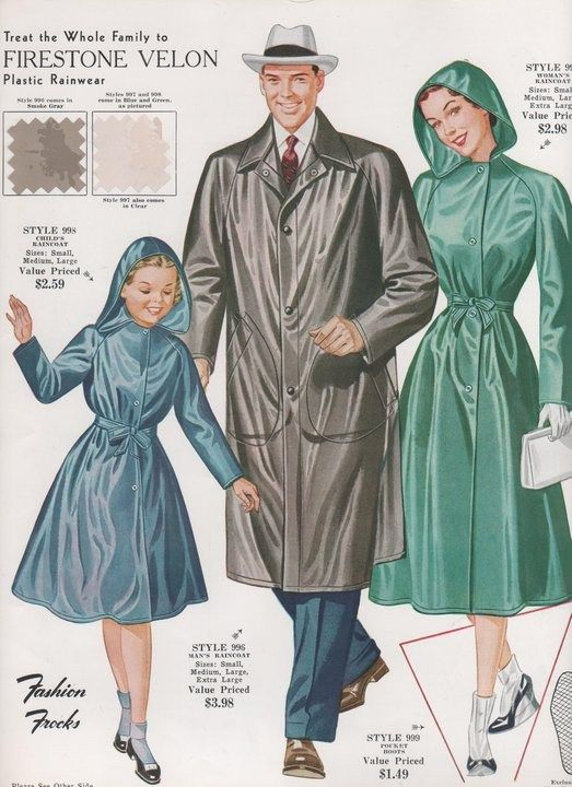 1950s raincoats for the whole family vintage ad