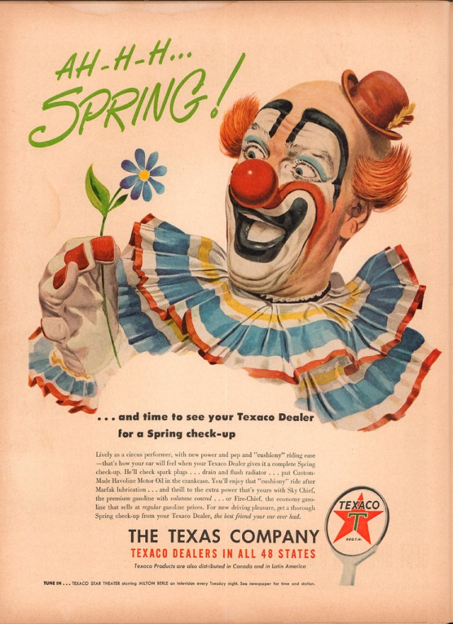 1950s vintage ad with clown