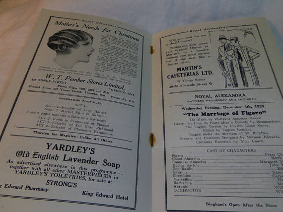 Royal Alexandra theatre toronto vintage program 1929 inside page