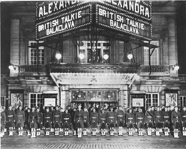 Soldiers at Royal Alexandra Theatre, Toronto, Canada, which is showing the British film Balaclava (1928) after it was reissued as a talkie