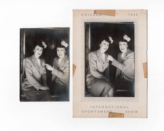 Vintage Photobooth Photo 1945 Chicago International Sportsmens Show