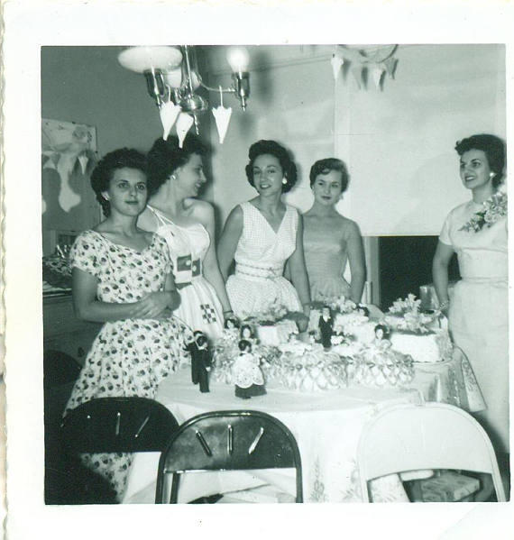 1950s Wedding Bridal Shower with Doll Cakes vintage photo