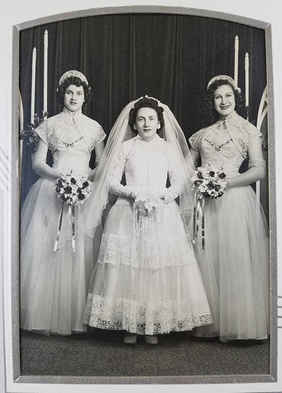 Photo of 1950s Bride with Two Bridesmaids