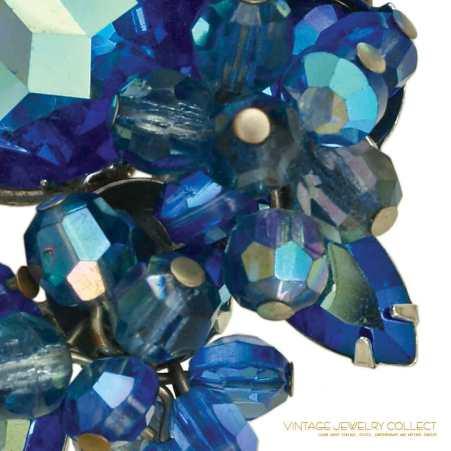 Huge Glitzy Blue Aurora Borealis Sapphire Rhinestone Brooch with Dangles
