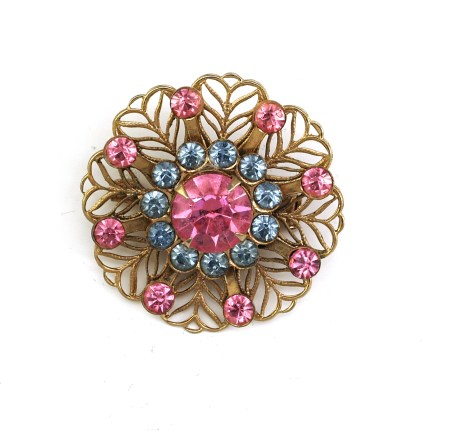Vintage Blue Topaz and and Pink Rhinestone Open Metalwork PIn
