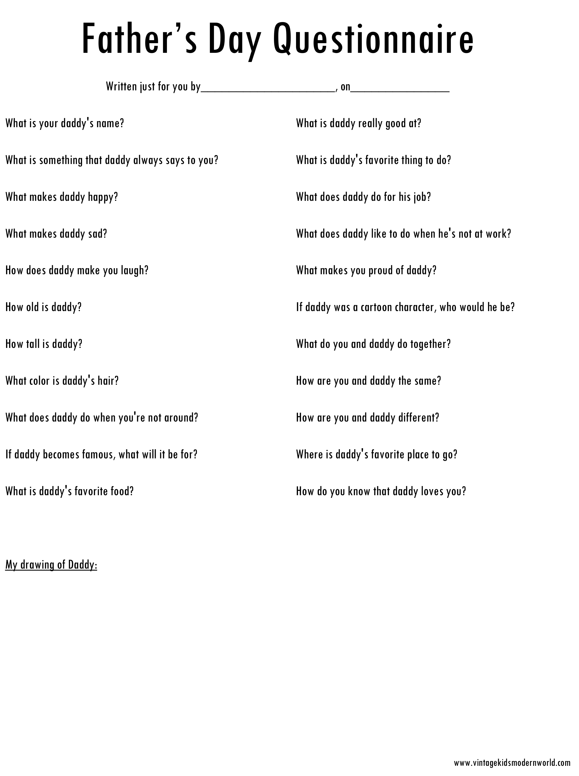 graphic about Dad Questionnaire Printable known as A Fathers Working day Questionnaire (a superior keepsake for father