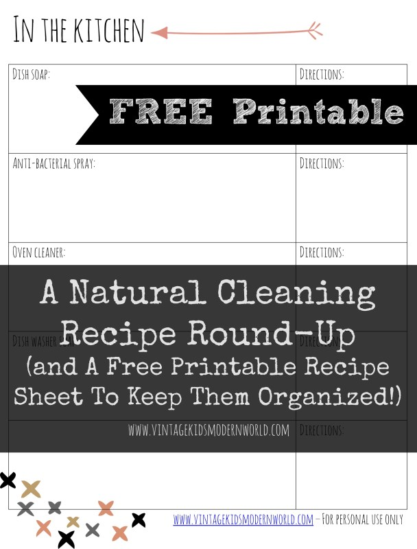 a natural cleaning recipe round up and a free printable to keep them