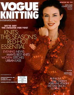 Red, paillette-trimmed Anna Sui sweater on the cover of Vogue Knitting, Winter 1998-99
