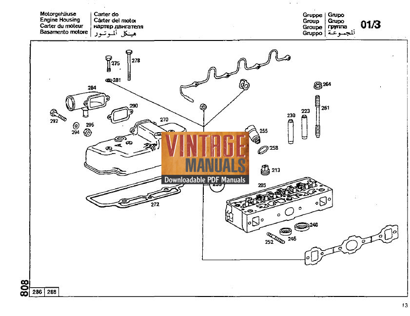 Mercedes Benz OM314 Diesel Engine Parts Manual (Free