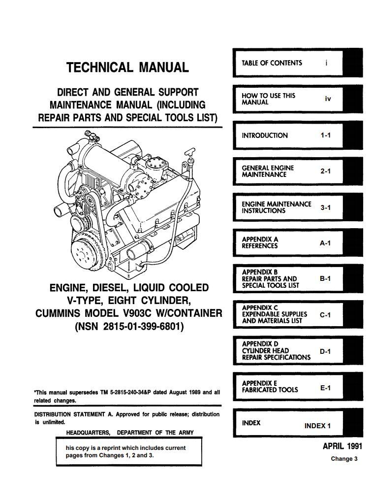Cummins V903 Technical Manual