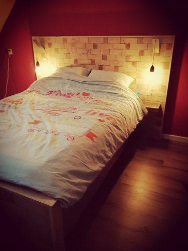 bed, hout, vintage, verlichting, usb,