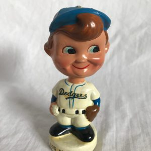 LA Dodgers Swirl Cap Extremely Scarce Mini Nodder 1961 Vintage Bobblehead White Base