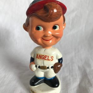 LA Angels Swirl Cap Extremely Scarce Mini Nodder 1961 Vintage Bobblehead White Base