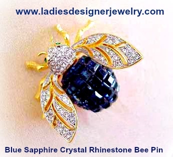 30daee6fa7d Blue Sapphire Rhinestone Bumble Bee Pin, Pave Daimond Bee Pins Brooches, Bee  Pins Brooch