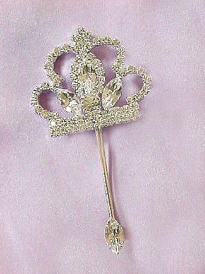 Crown Tiara Marquise Scepter Pin Swarovski Rhinestone Brooch Jewelry