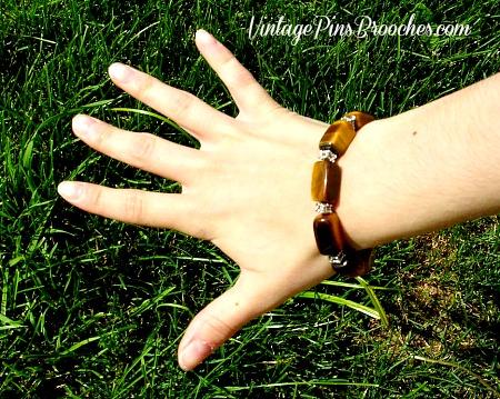 Vintage Brown Tigers Eye Semi Precious Stone Chunk Bead Stretch Bracelet,  Ladies Designer Jewelry Bracelets