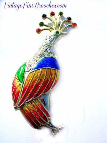 2db1f3f8f67 Vintage Rhinestone Peacock Pin Brooch, Enamel Diamond Ruby Amethyst Rhinestone  Peacock Brooches Pins Animals,