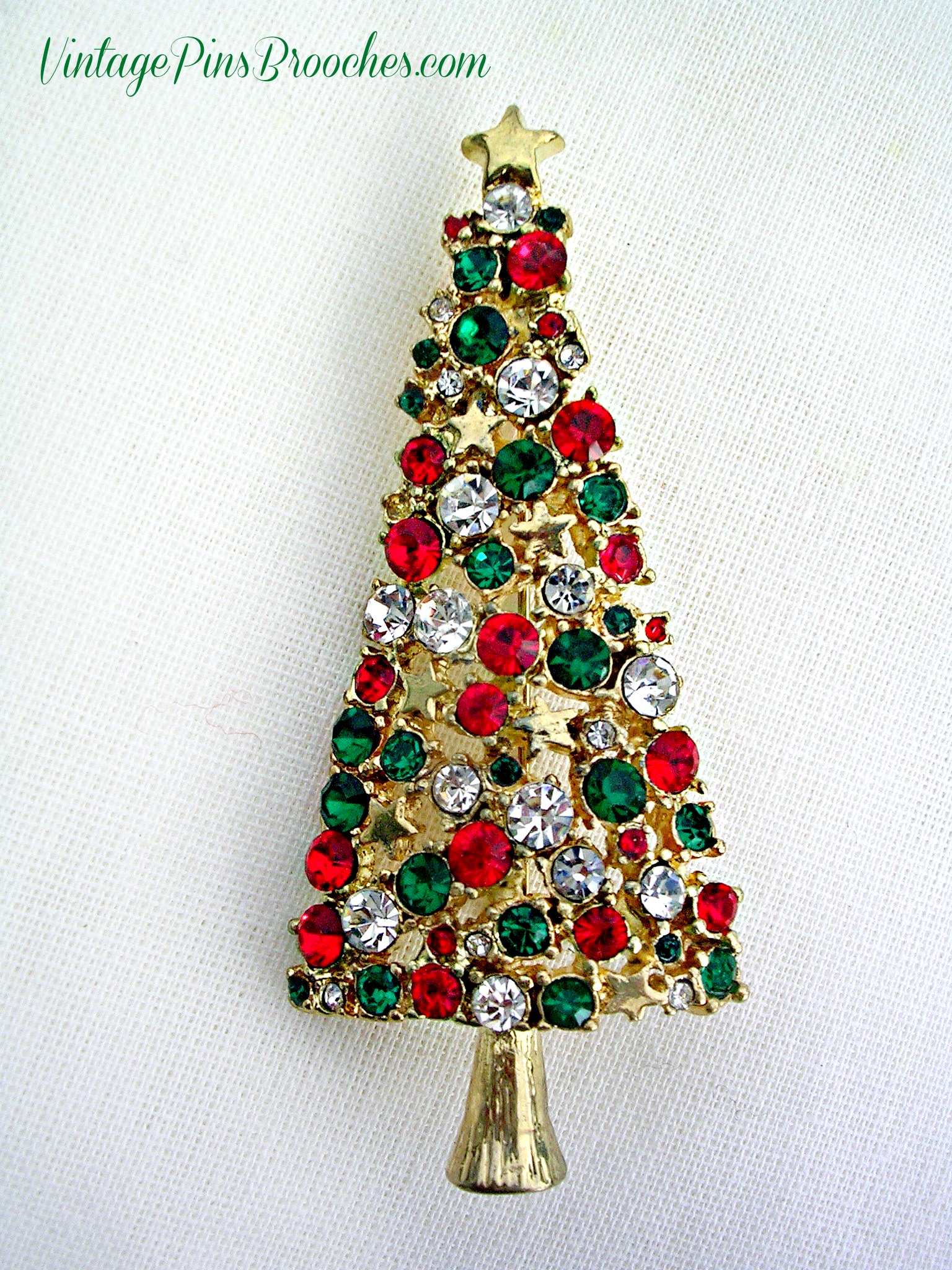 Christmas Brooches And Pins.Vintage Gold Plate Diamond Emerald Ruby Tall Christmas Tree Brooch Pin Ladies Holiday Jewelry Brooches P76