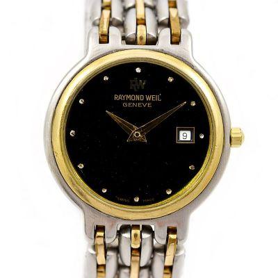 Vintage Raymond Weil Geneve Stainless Steel Two Tone Quartz Ladies Watch