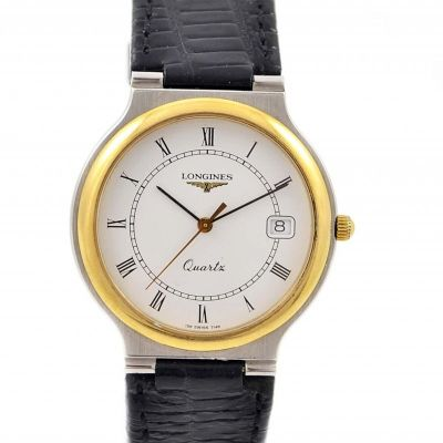 Vintage Longines Flagship Gold Plated Roman Numeral Quartz Midsize Watch