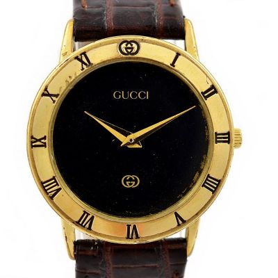 Vintage Gucci 3000J Gold Plated Quartz Midsize Watch black