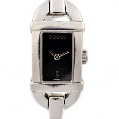 Pre-Owned Gucci 6800L Quartz Rectangular Ladies Bangle Watch black
