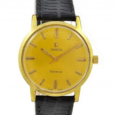 Vintage Omega Geneve Cal.601 Gold Plated Hand Wind Midsize Watch mens