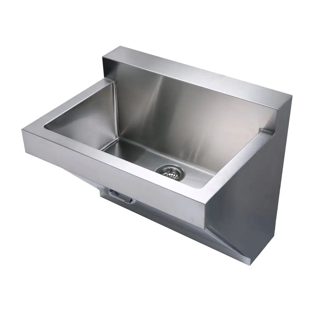 noah collection 30 inch commercial wall hung laundry sink brushed stainless steel