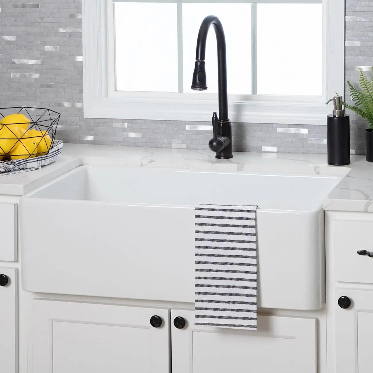 30 inch plain front fireclay reversible apron farmhouse sink white