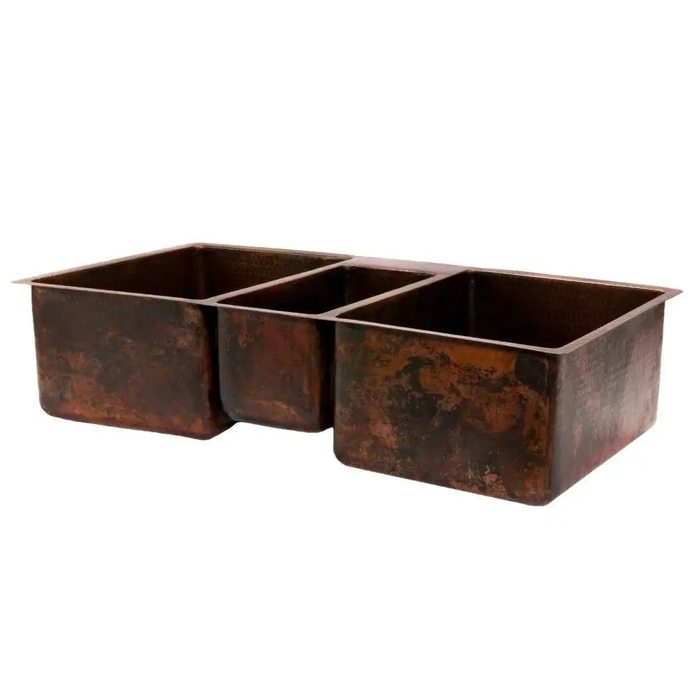 42 inch hammered copper kitchen triple basin sink oil rubbed bronze patina