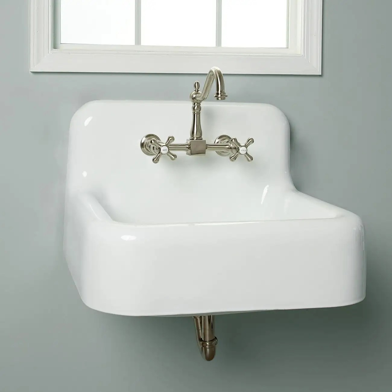 daisy 25 inch cast iron farmhouse sink 8 inch faucet drillings white