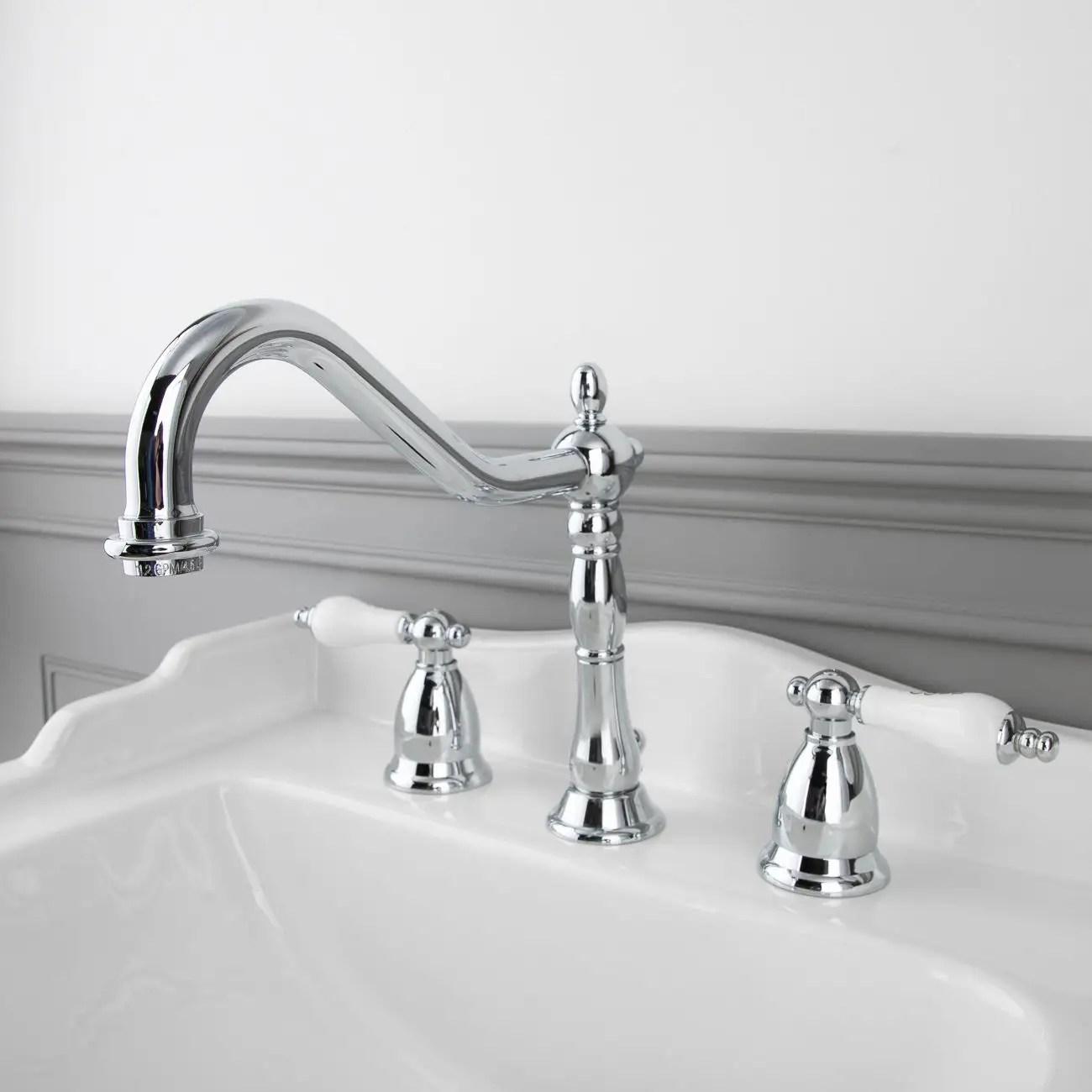 victorian widespread bathroom sink faucet porcelain lever handles