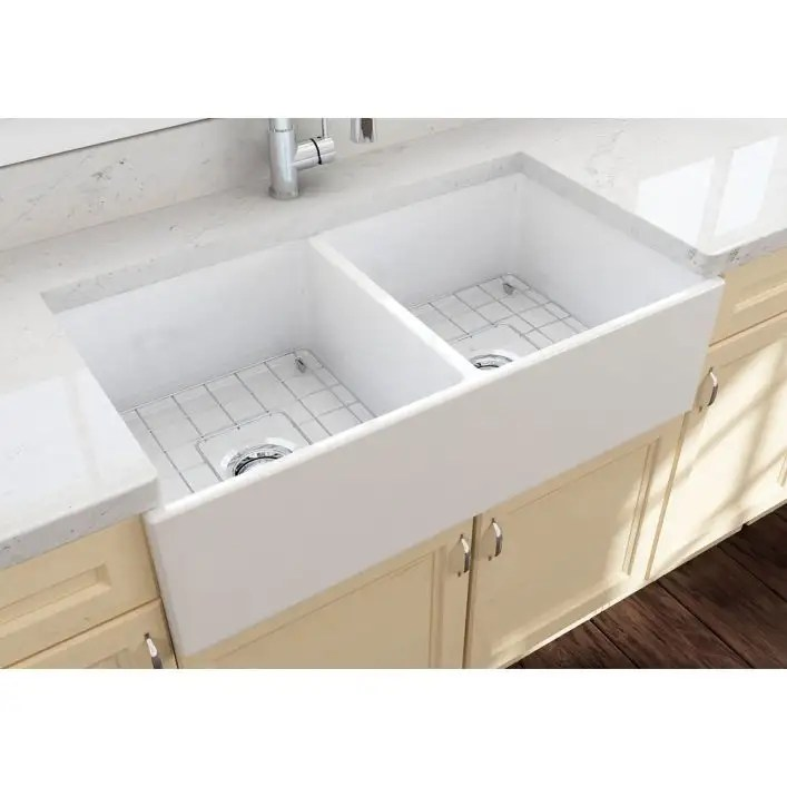 contempo 36 in apron front fireclay double bowl kitchen sink with grid and drain