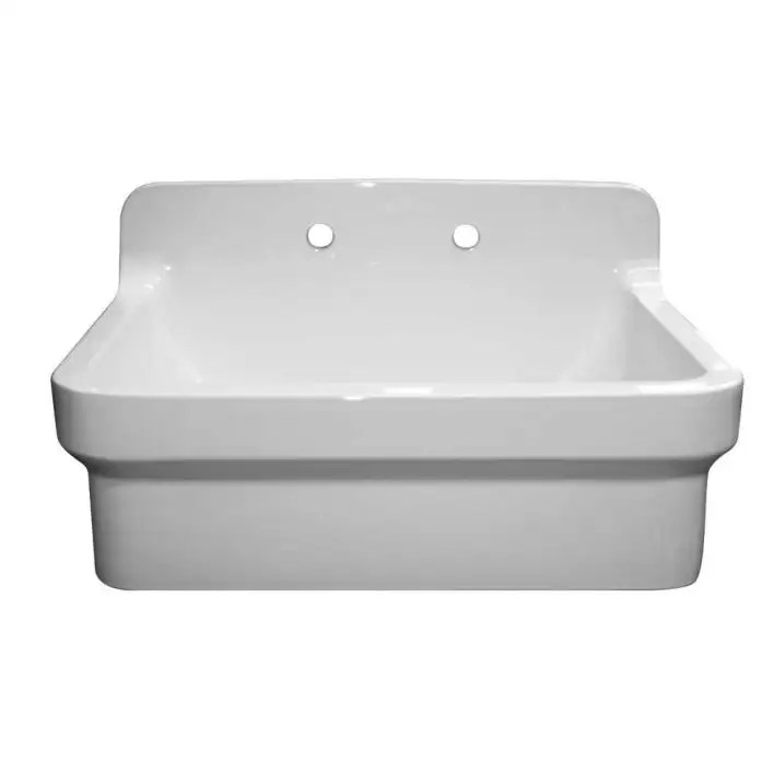 old fashioned country fireclay utility sink with high backsplash white