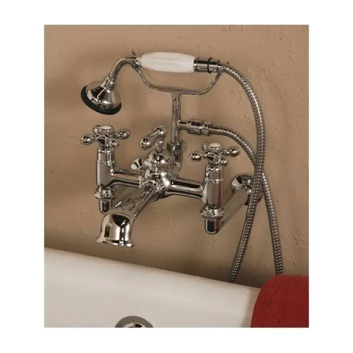 bathroom wall mount clawfoot tub faucet with handshower 7 inch centers