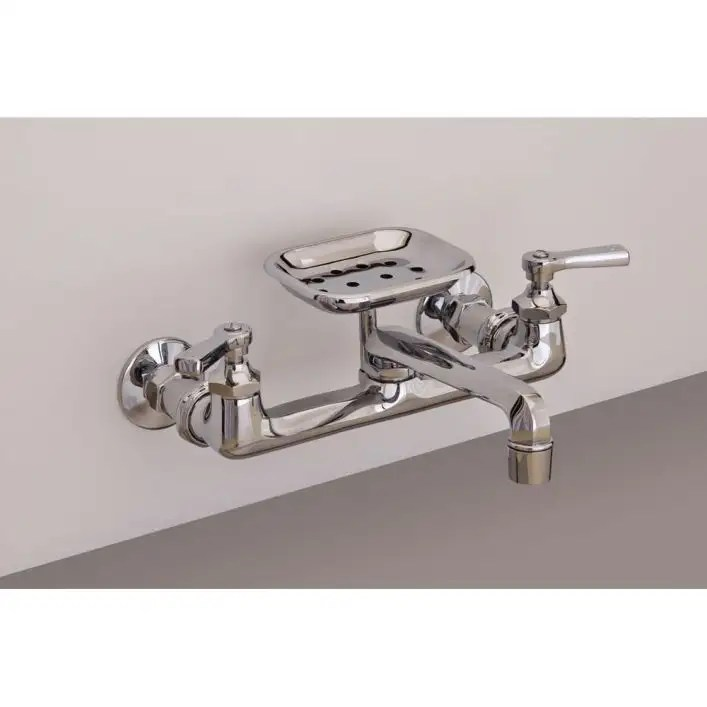 wall mount kitchen faucet with swivel spout and soap dish 8 inch centers