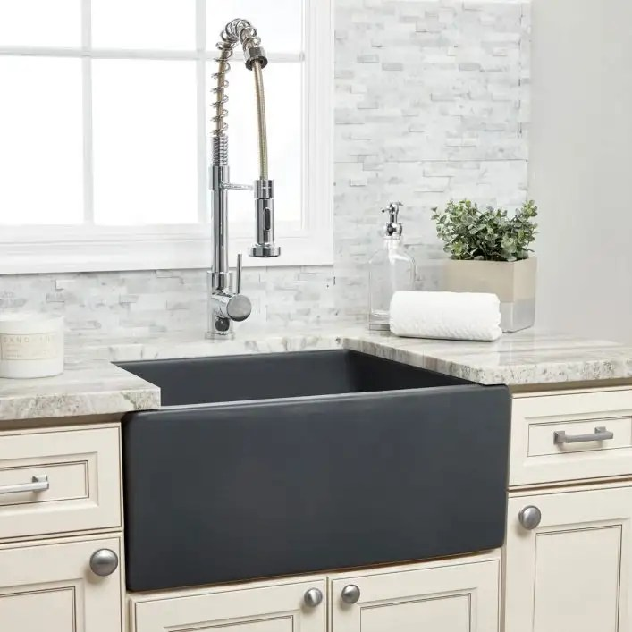 24 x 18 plain front fireclay reversible apron farmhouse sink matte dark gray