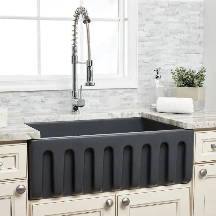 30 x 18 plain front fireclay reversible apron farmhouse sink matte dark gray
