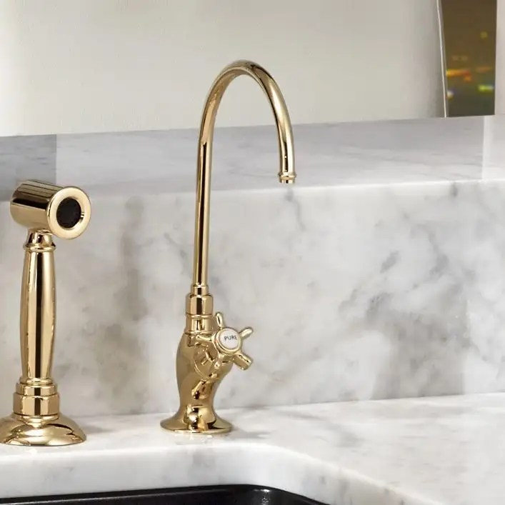low lead country kitchen c spout filter faucet with cross handle